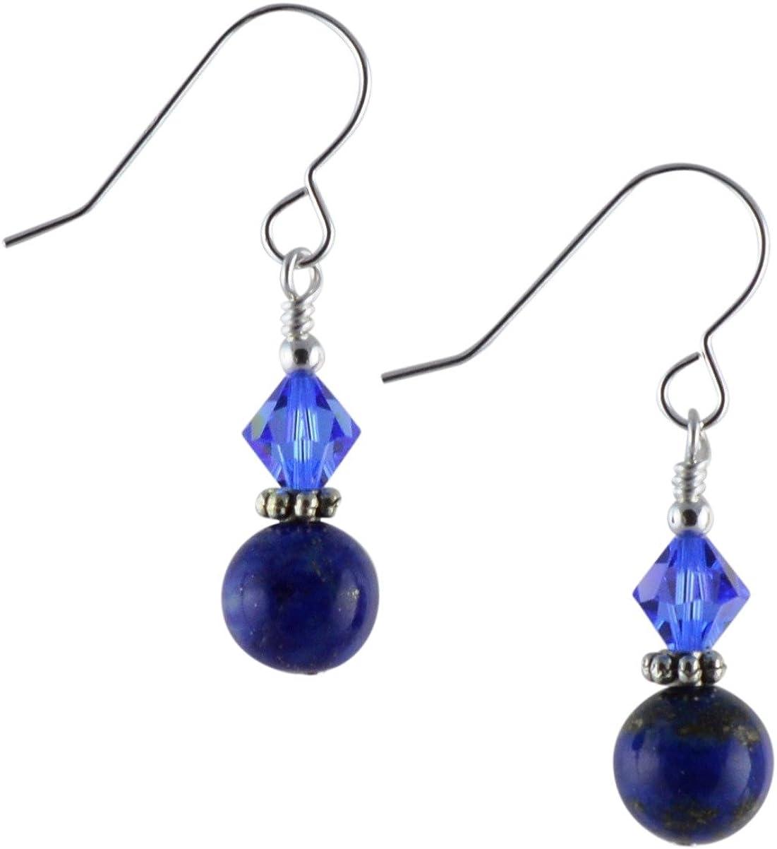 Lapislázuli Gemstone, cristal azul Swarovski y pendientes de gota de plata de ley con caja de regalo