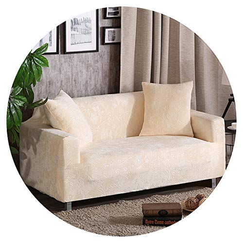 Velvet Fabric Thick Sofa Cover Stretch Seater Covers Couch Cover Loveseat Sofa Furniture warp slipcovers Covering Towel All wrap,Cream,2 Seat 145-185cm