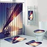 Philip-home 5 Piece Banded Shower Curtain Set san Francisco Skyline Retro View America Spirit California Theme USA Decorate The Bath