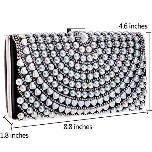 Pearls For Bags Wedding Black Womens Handbag Evening Clutch Purse Dress Chain 8gwv5zdq