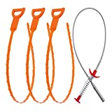 Vastar AD333 4 in 1 Drain Snake Hair Drain with 3 Pieces Drain Auger Clog Remover Cleaning Tool and 1 Pack Drain Relief Tool
