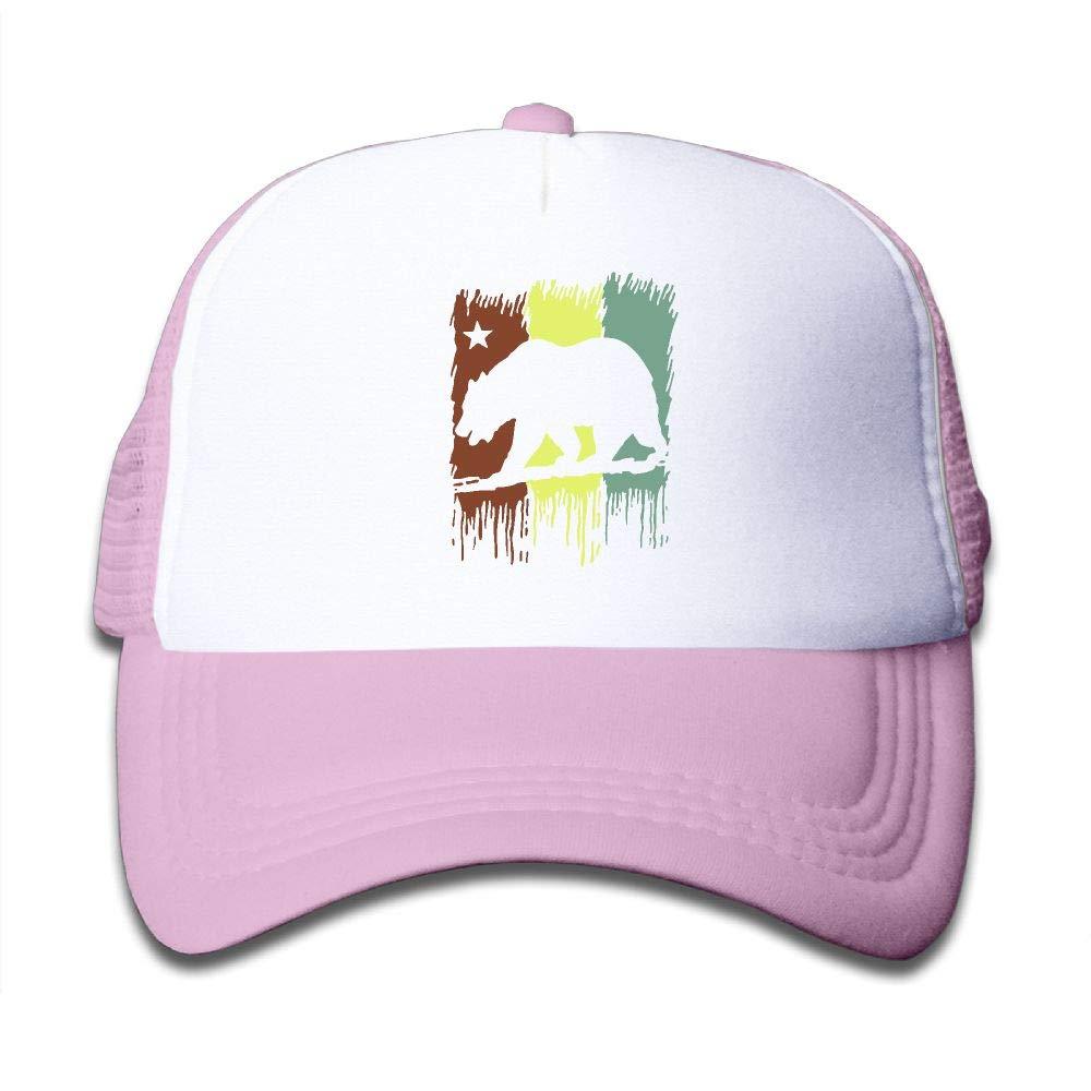 NO4LRM Kid's Boys Girls Cali California Republic State Bear Rasta Youth Mesh Baseball Cap Summer Adjustable Trucker Hat