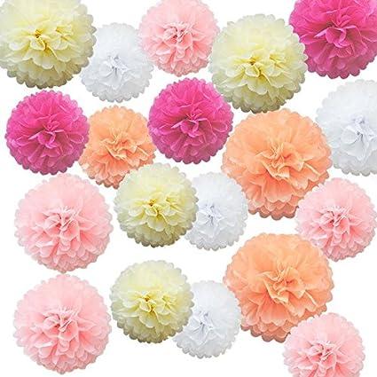 4117a1963c376 iShyan 15pcs Mix Tissue Hanging Paper Pom-poms, Flower Ball Wedding  Birthday Party Outdoor Decoration Premium Tissue Paper Pom Pom Flowers  Craft ...