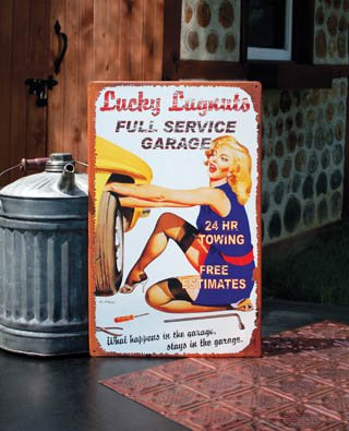 Repair Service Tin Sign (1 X FULL SERVICE GARAGE Metal Sign, 24HR TOWING, FREE ESTIMATES LUCKY LUGNUTS Tin, AUTO REPAIR Pin-Up Girl Metal Tin, Humorous Garage & Man Cave Decor)