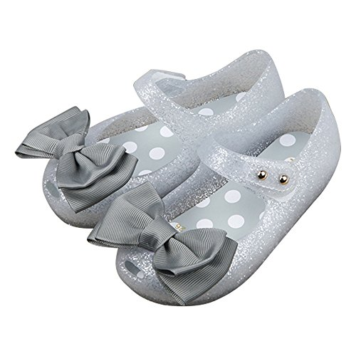 iFANS Girls Princess Mary Jane Cloth Bow Jelly Shoes Flats(Toddler Little Kids) Silver
