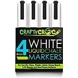 CraftyCroc 4 White Liquid Chalk Markers, 6mm Reversible Tip