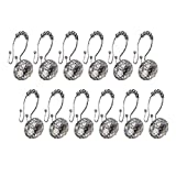 Gent House Rustproof Stainless Steel Acrylic Crystal Rhinestones Decorative Shower Curtain Hooks Slide Rolling Rings Pack of 12 Clear