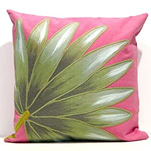 Liora Manne 7SB2S416807 Visions Ii 4168-07 Palm Fan Hot Pink 20 In. Square Outdoor Pillow