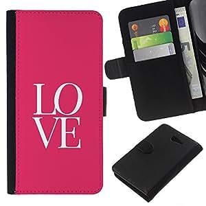 Texto letras rosadas minimalistas de San Valentín- la tarjeta de Crédito Slots PU Funda de cuero Monedero caso cubierta de piel Para Sony Xperia M2