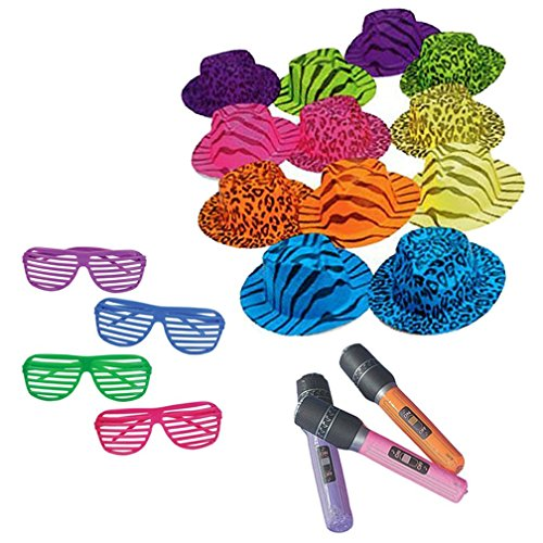 Super Rock Star Costume (Superstar Rock Star Party Bundle for 12: Sunglasses, Hats, and Microphones)