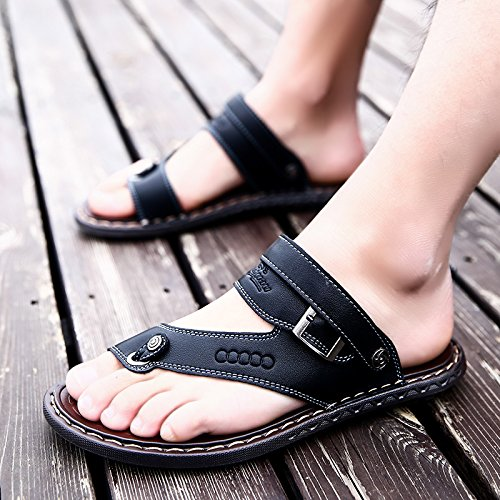 Xing Lin Sandalias De Hombre Chanclas De Verano De Hombres Playa Antideslizantes Zapatos De Cuero Casual Zapatillas Para Hombres Sandalias Open Toe Verano Marea Hombres Sandalias black