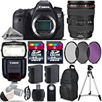 Canon EOS 6D DSLR Camera + Canon 24-105mm IS USM Lens + Speedlite 430EX III RT + 64GB Storage + Backup Battery + UV-CPL-FLD Filters + Wrist Grip Strap + Wireless Remote - International Version