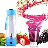 9 x 2.5 Inch Mini Portable Blender / Mixer Cup for Mixing Smoothie, Protein, Oatmeal, Yogurt, Milk, Honey, Coffee, Soft Fruit- Preup USB Charging 350ML Juice Cup for Drinks with Travel Lid, Blue