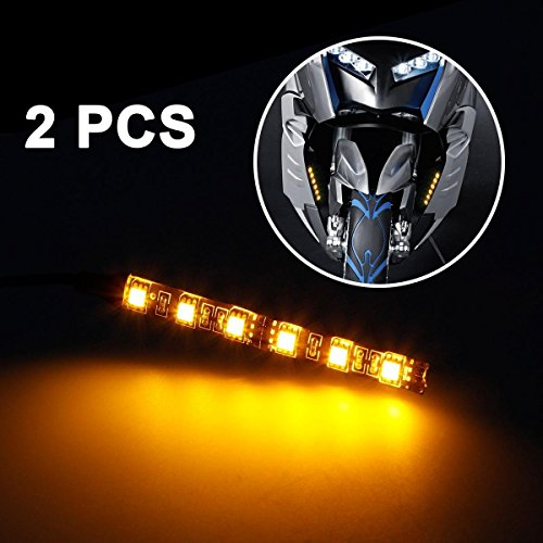 Partsam 2x Mini Strip Black led motorcycle Turn signal Universal Amber lights Strip 6LED (Car Turn Signals)
