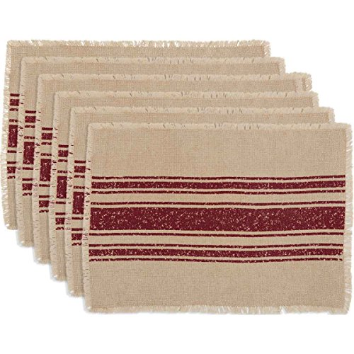 VHC Brands Farmhouse Holiday Tabletop & Kitchen - Vintage Burlap Stripe White Placemat Set of 6, 12 x 18 Oval, Red