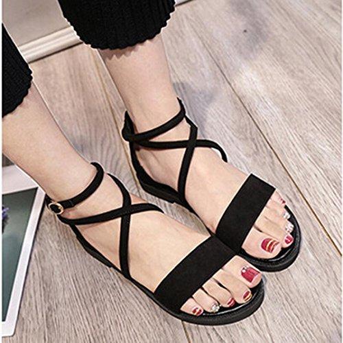 ... Transer® Damen Flach Ankle-strap Sandalen Leder+Gummi Schwarz  Kreuzgürtel Sandalen ... 2b82f5fa05