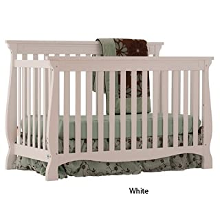 Stork Craft Carrara 4-in-1 Fixed Side Convertible Crib, White