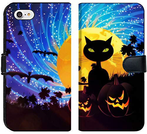 Liili Premium iPhone 7 Flip Micro Fabric Wallet Case Halloween Party Background with Pumpkins and Moon on Starry Sky Image ID 21658403