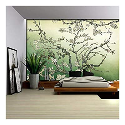 Marvelous Print, Professional Creation, Almond Blossom Painting by Vincent Van Gogh on a Green Watercolored Background Wall Mural