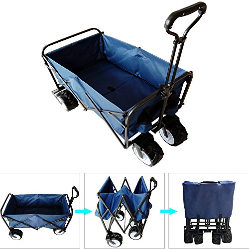 Foldable All Terrian Wagon Cart, Heavy Duty Folding Utility Shopping Garden Beach Cart/w Oxford Cloth (Dark Blue)