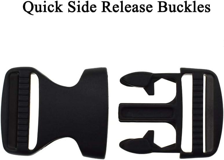 Boscoqo Quick Side Release Buckles 0.6 inch Wide Single Adjustable Clips Snaps Solid Plastic for Nylon Strap Webbing Survival Paracord Bracelet Pet Collar Backpack Fanny Pack Waist Strap Black 7 Pack