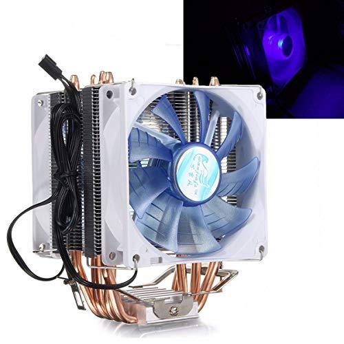 MTSBW 12V Dual CPU Cooler Fan Quiet Blue LED Light 92x92x25mm 3pin