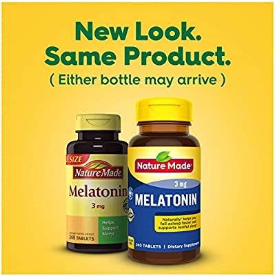Nature Made Melatonin 3mg Tablets, 240 Count for Supporting Restful Sleep† (Packaging May Vary)