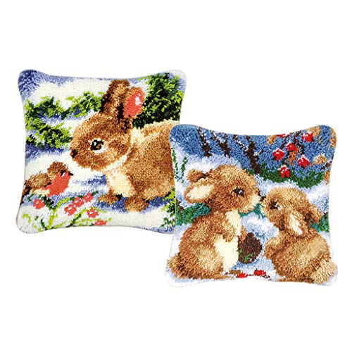 Baosity 2 Set Rabbits Latch Hook Kits for DIY Pillow Cover Sofa Cushion Cover with Pattern Printed 43x43cm 2 Latch Hook Pattern