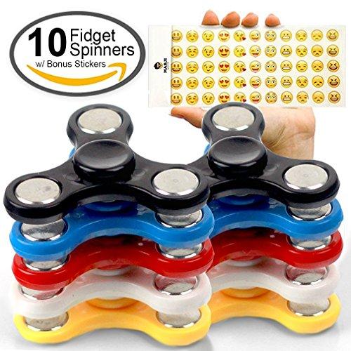 Price comparison product image Fidget Spinner Party Favors 10 Pack by CRAZZIE Fidgetz - with Bonus Emoji Sticker Sheet for Decoration Fun