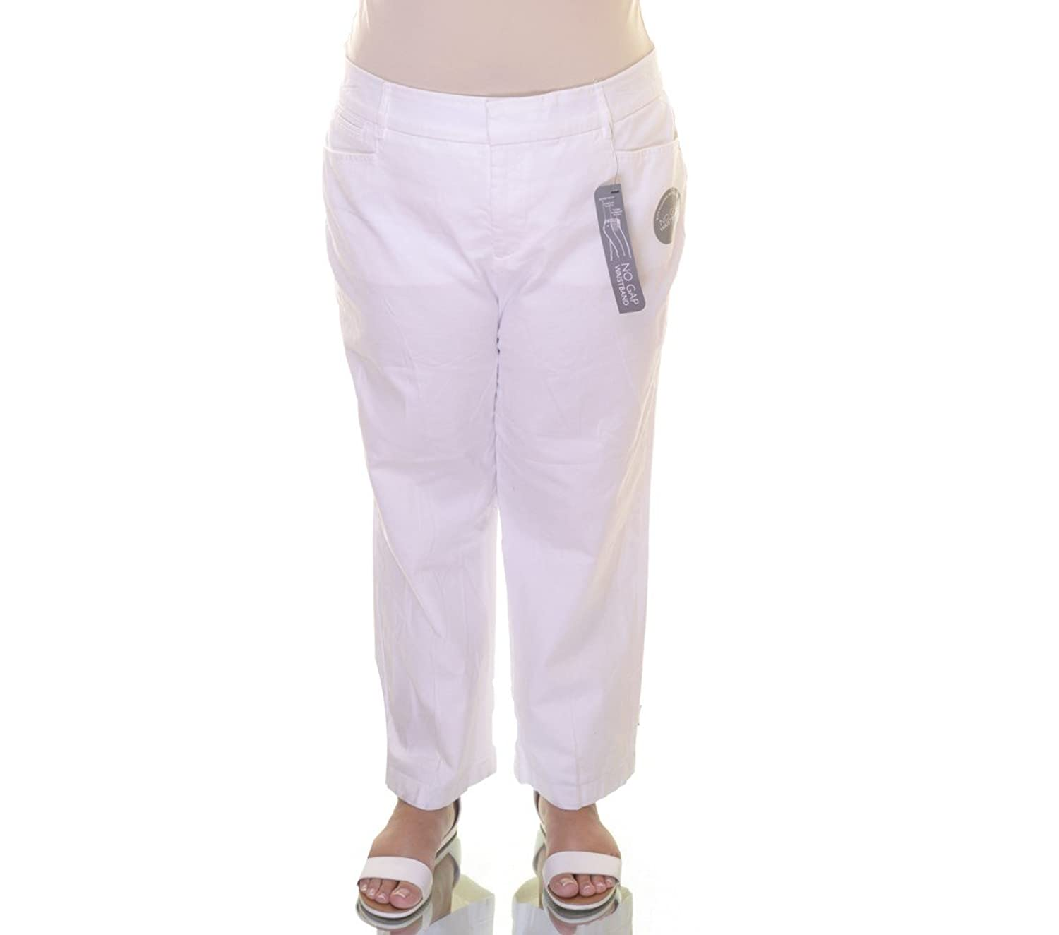JM Collection Pants Straight-Leg Cropped Twill Size 10