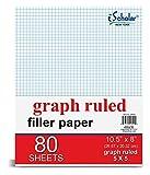 iScholar Quad Filler Paper, 5 Squares per Inch, 10.5 x 8 Inches, 80 Sheets (24880)