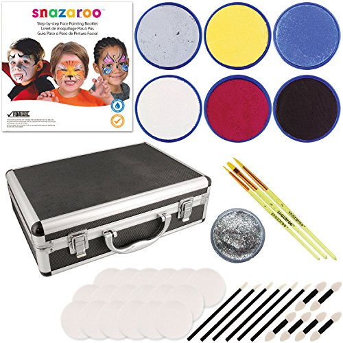 Snazaroo 6 Color Face Painting Kit with Sponges and Aluminum Storage Case