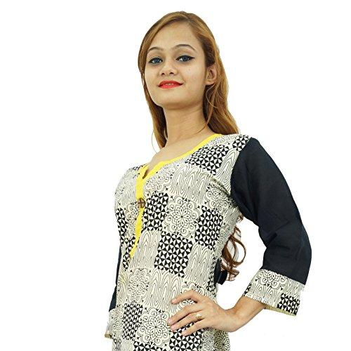 Étnica Kurti diseñador de Bollywood mujeres algodón ropa de sport Top vestido de la túnica Beige y amarillo