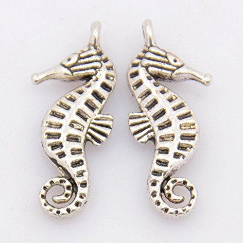 Tibetan Silver Seahorse Charms - Craftdady 20PCS Tibetan Style Sea Horse Antique Silver Alloy Charms Pendants Necklace Bracelet Jewelry Making Findings, Cadmium Free & Nickel Free & Lead Free, 22x9x3mm, Hole: 1.5mm