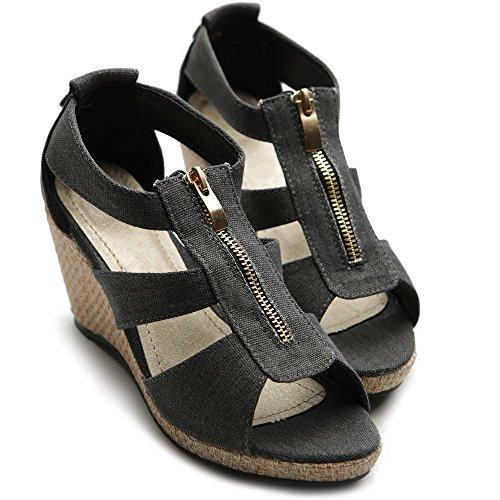 Strap Ollio Zipper Shoe High Sandal Wedge Black Heel Front Women's rwrqP0