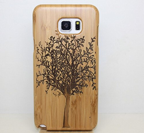 Fusicase fashion style New Wood Bamboo Cherry Back Case for Samsung Galaxy Note 5 + 1 Stand As a Gift,Random color(Tree)
