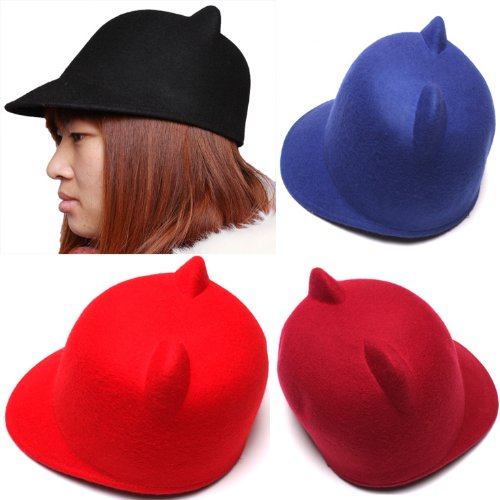 Punk Devil Hat Cute Cat Ears Design Soft Wool Derby Bowler Cap