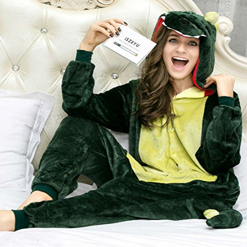 iSZEYU Adult Pajama Dinosaur Christmas Costumes Onesies For Women Men Teens Girl