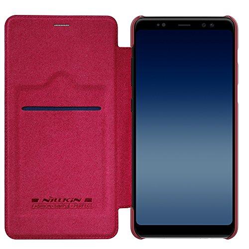Capa Flip para Galaxy A8 Plus 2018, NILLKIN Qin [Couro PU][Fina e Leve][Proteção 360 graus], Samsung Galaxy A8 Plus 2018 (A730) - Vermelha