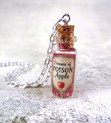 Essence of Poison Apple Snow White Evil Queen Mini Glass Bottle Necklace - Sleeping Potion Magic Potion Charm - Mini Cork Vial - Fairy Tale Fantasy Halloween Jewelry - Sleep Forever Dream Draught ()