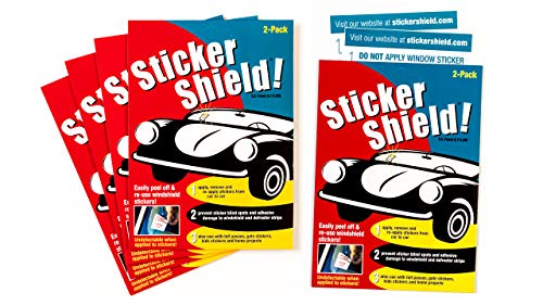 : Sticker Shield - Windshield Sticker Applicator for Easy Application, Removal and Re-Application from Car to Car - 5 Packs of 4 inch x 6 inch Sheets (Total of 10 Sheets)