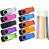 Pack of 10 2GB USB2.0 Flash Drives - Kepmem Swivel Memory Stick Portable Thumb Drives Assorted Colors
