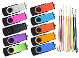 USB Flash Drive 4GB 10 Pack Thumb Drives Kepmem Portable Jump Drives Swivel 10 Pieces Zip Drives Mixed Colors Memory Stick 2.0 Friend Gift