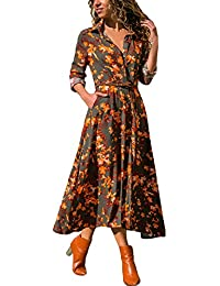 Women's Button up Floral Print Flowy Bohemian Long Maxi Cardigan Dress with Belted