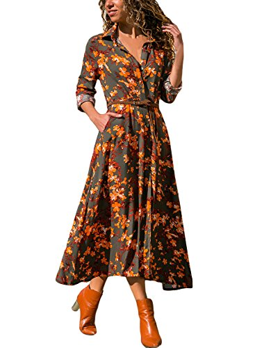 HOTAPEI Women's Summer Spring Casual V Neck Floral Flower Patterned Boho 3/4 Sleeve Button up Wrap Dress Long Maxi Shirt Dress with Split Belted Large