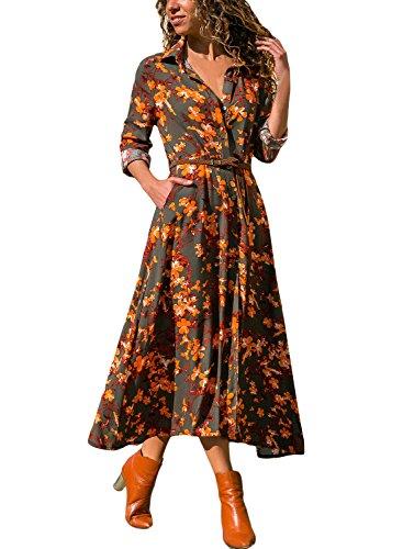 HOTAPEI Women's Summer Casual V Neck Flower Patterned Boho 3/4 Long Sleeve Button DownWrap Split Belted Long Maxi Shirt Dress,Large