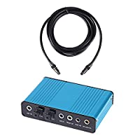 HDE USB 2.0 External Sound Card 6 Channel 5.1 Surround Sound Optical Audio Output Adapter Bundle with 10ft Toslink Cable for PC and Mac