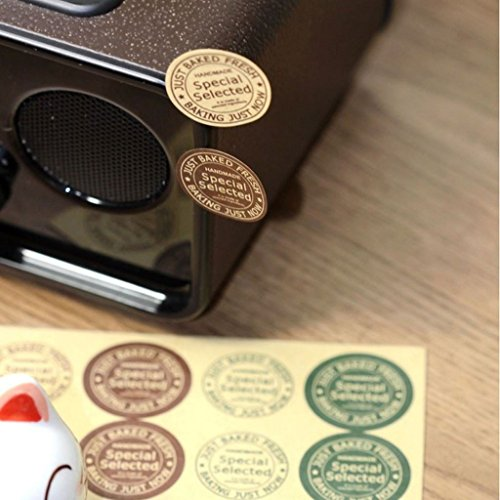 Handmade Special Selected Kraft Round Sticker for Home Baking Gift Packaging, Pack of 160pcs