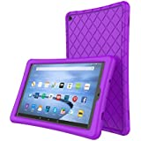 Soft Silicone Case Protector All Amazon Fire HD 10 Tablet (7th Generation, 2017 Release)- [Rhombus Series] Shockproof Silicone Back Cover [Kids Friendly] Fire HD 10.1 Inches Purple