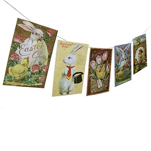 Cheap  Vintage Easter Postcards Garland - photo reproductions on felt